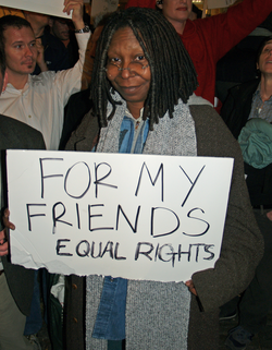 In New York City protesting California Proposition 8 (2008)