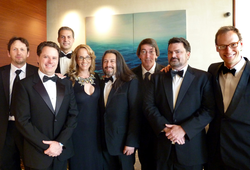 Perry and other game developers at a BAFTA event in Los Angeles in July 2011. From left: Rod Humble, Louis Castle, David Perry, Brenda Brathwaite, John Romero, Will Wright, Tim Schafer, Chris Hecker.