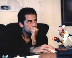 David Perry in 1996, with a miniature of Earthworm Jim