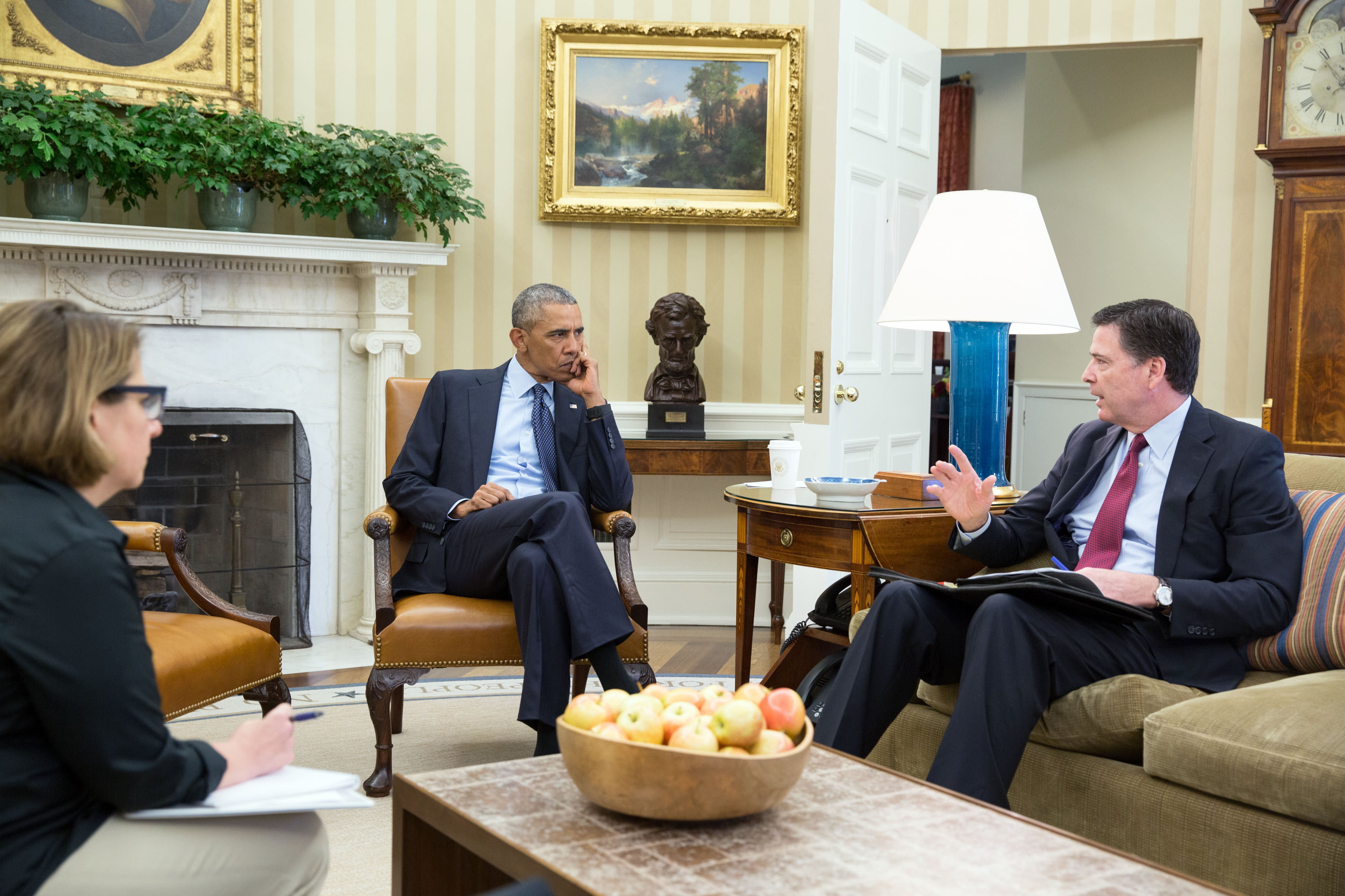 President Obama receives an update in the Oval Office from FBI Director Comey and Homeland Security Advisor Lisa Monaco on the 2016 Orlando nightclub shooting, June 12, 2016