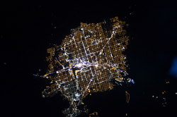 Astronaut photograph of Las Vegas at night