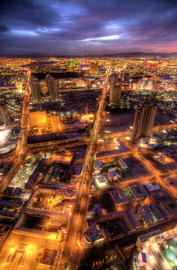 A view of the                                 Las Vegas Valley                                looking south from the                                 Stratosphere Tower                                at dusk