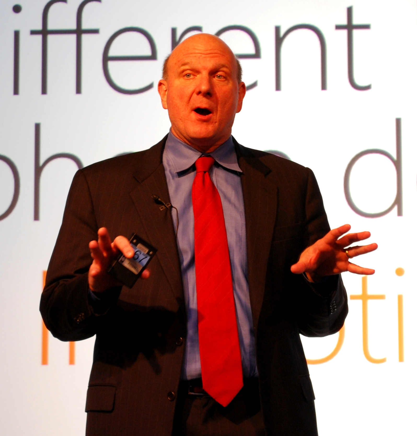 Steve Ballmer at Mobile World Congress 2010.