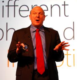 Steve Ballmer at Mobile World Congress 2010.