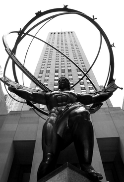 Atlas                                lifting the world, Objectivist imagery made famous by the novel                                 Atlas Shrugged