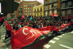 Members of the Spanish                                 anarcho-syndicalist                                trade union                                 CNT                                marching in Madrid in 2010