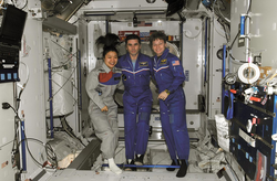 Yi So-yeon with NASA astronaut Peggy Whitson(right), Expedition 16 commander, and Russian Federal Space Agency cosmonaut Yuri Malenchenko(middle), flight engineer, at the International Space Station.