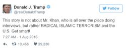 Second tweetDonald Trumpmade criticizingKhizr Khan