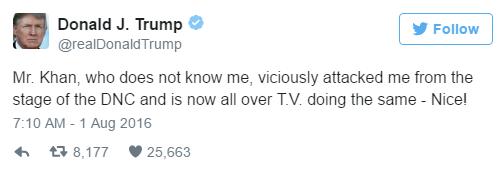 First tweetDonald Trumpcriticizing Khizr