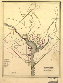 Map of the District of Columbia in 1835, prior to the retrocession