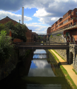 The Chesapeake and Ohio Canal passes through the Georgetown neighborhood.