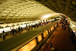 Metro Center is the transfer station for the Red, Orange, Silver, and Blue Metrorail lines.