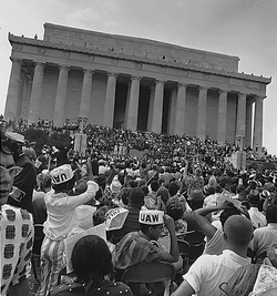 Civil Rights marchers at the Lincoln Memorial.