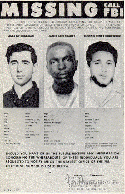 Missing persons poster created by the FBI in 1964, shows the photographs of Andrew Goodman, James Chaney, and Michael Schwerner.