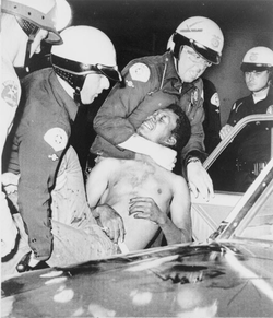 Police arrest a man during the                                 Watts Riots                                , August 1965.