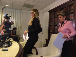 Photo of Jessica and                               Gloria Allred                              before the press conference
