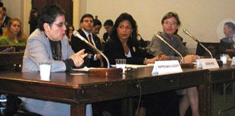 Susan E. Rice (middle) at the USCIRF hearings (November 27, 2001)