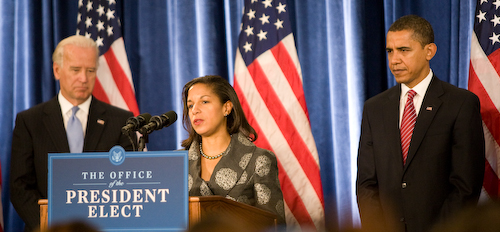 Rice with Barack Obama and Joe Biden, December 2008