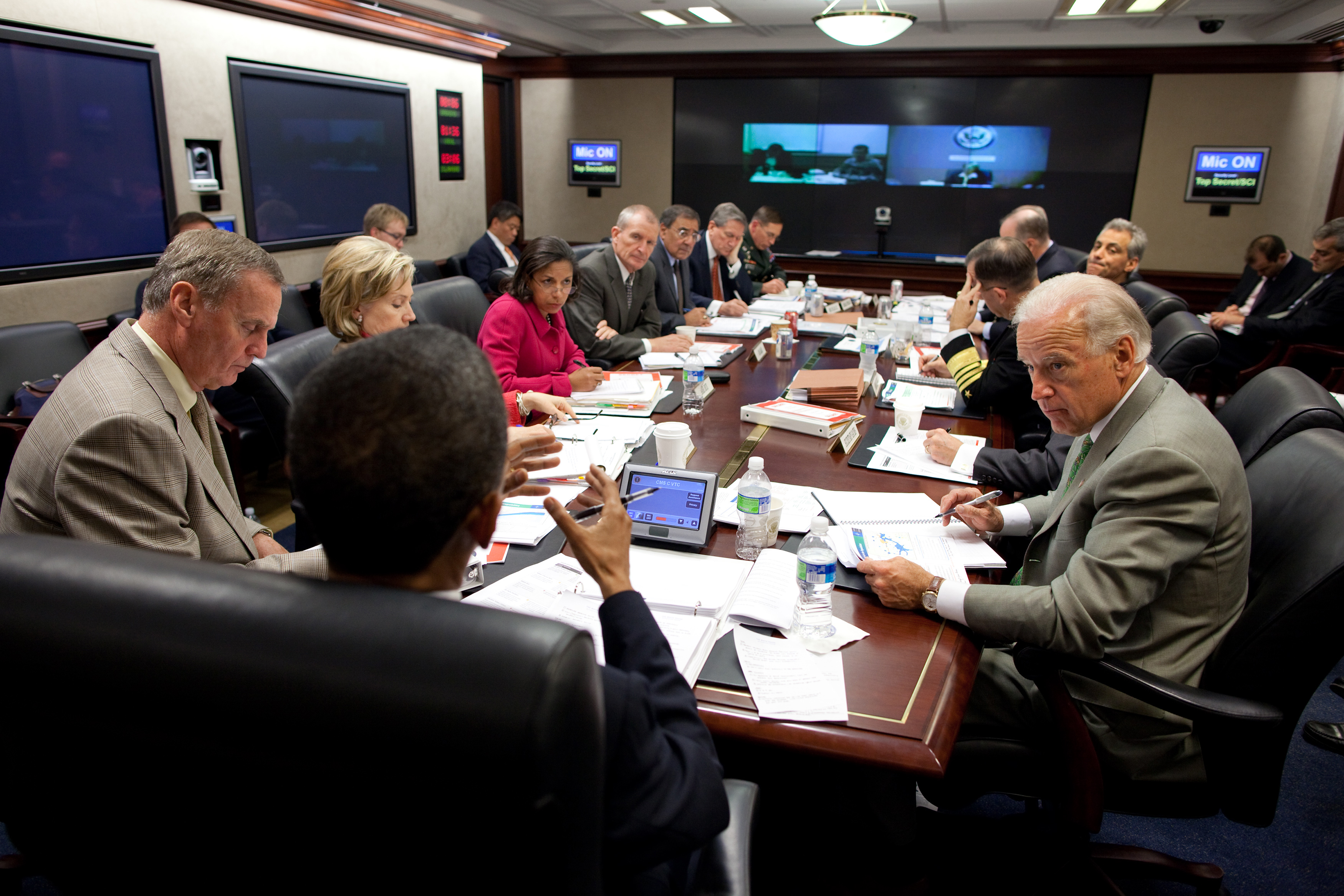 Rice attends a briefing on Afghanistan in the Situation Room of the White House, October 2009
