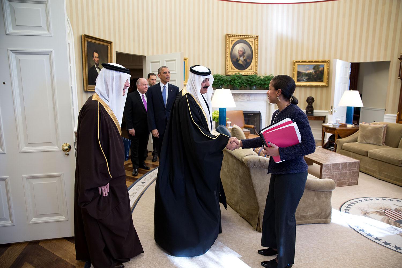 Rice and President Obama meet with Saudi Arabia's Minister of the National Guard, Prince Mutaib bin Abdullah, 19 November 2014