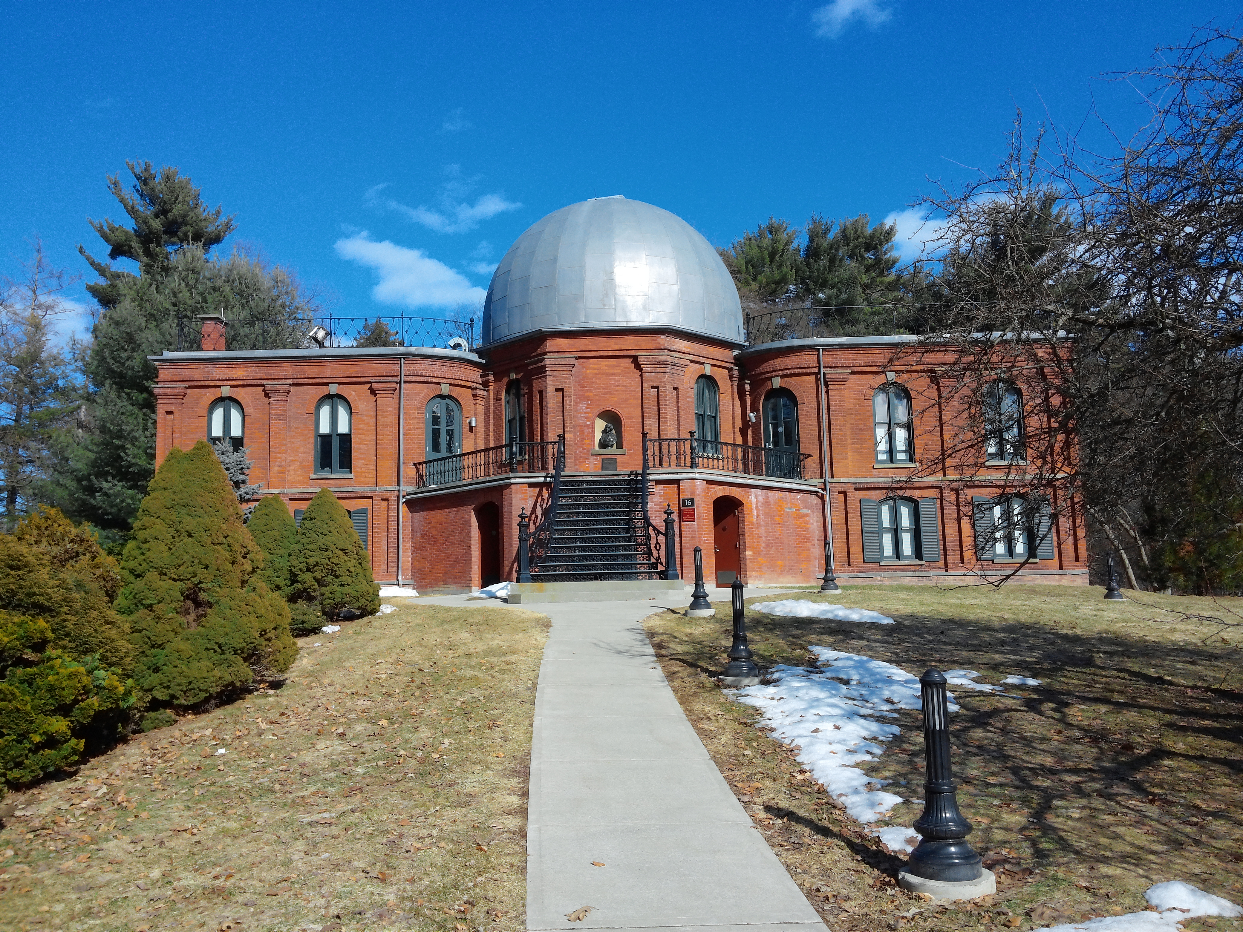 The Vassar College Observatory is one of two National Historic Landmarks on the college's campus, along with Main Building.