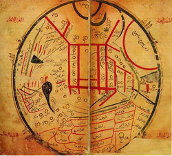 Map from Kashgari's                                 Diwan                                , showing the distribution of Turkic tribes.