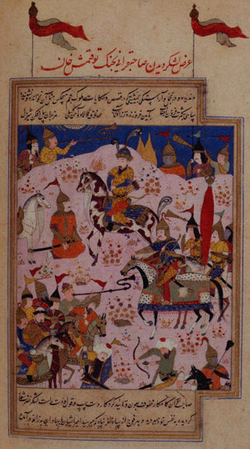 Tamerlane                                and his forces advance against the                                 Golden Horde                                , Khan                                 Tokhtamysh                                .
