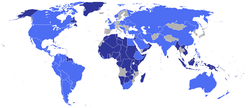 The UN in 1945. In light blue, the founding members. In dark blue, protectorates and territories of the founding members.