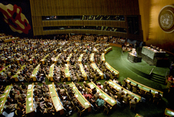 Mikhail Gorbachev, Soviet general secretary, addresses the UN General Assembly in December 1988.