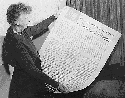 Eleanor Roosevelt with the Universal Declaration of Human Rights in Spanish, 1949
