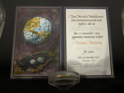 Nobel Peace Prize 2001 United Nations – diploma in the lobby of the United Nations Headquarters in New York City