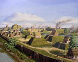 An artistic recreation of                                 The Kincaid Site                                from the prehistoric Mississippian culture as it may have looked at its peak 1050-1400 AD.