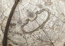 North America, 1602. Globe by                                 Willem Blaeu                                .