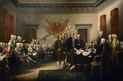 The Declaration of Independence: the Committee of Five presenting their draft to the Second Continental Congress in 1776