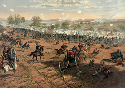 The Battle of Gettysburg, Pennsylvania during the Civil War by Thure de Thulstrup.