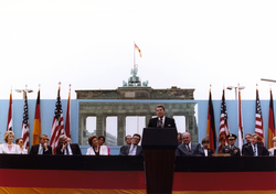 U.S. President Ronald Reagan at his Tear down this wall! speech in Berlin (Germany) on June 12, 1987. The Iron Curtain of Europe manifested the division of the world's superpowers during the Cold War.