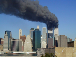 The former World Trade Center in Lower Manhattan during September 11 attacks in 2001