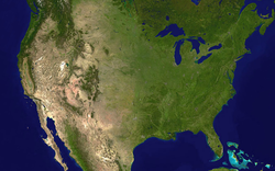 A composite satellite image of the contiguous United States and surrounding areas