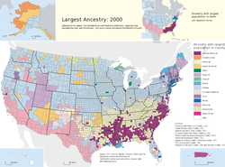 Largest ancestry groups by county (2000), led by German Americans.