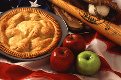 Apple pie is a food commonly associated with American cuisine.