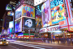 Times Square in New York City, the hub of the Broadway theater district[538]