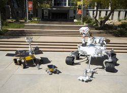 MSL mockup compared with the                                 Mars Exploration Rover                                and                                 Sojourner rover                                by the Jet Propulsion Laboratory on May 12, 2008