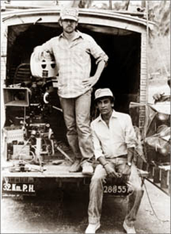 Steven Spielberg and Chandran Rutnam on a location in Sri Lanka during the filming of Indiana Jones and the Temple of Doom.