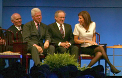 Former President Clinton with Spielberg as he accepts the 2009 Liberty Award in Philadelphia