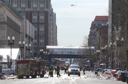 Emergency services at work after the bombing