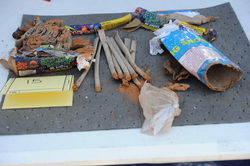 FBI photo of emptied fireworks recovered from Dzhokhar Tsarnaev's backpack, found in a landfill near the UMass Dartmouth campus