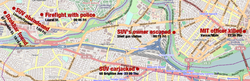 Scenes and approximate times of events of April 18–19