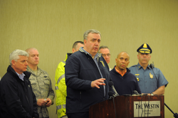 Boston Police Commissioner Edward F. Davis gives a news conference about the bombing on April 15. Governor Deval Patrick is second from right and Suffolk District Attorney Daniel F. Conley is at far left.