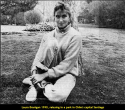 Laura Branigan 1990, relaxing in a park at Santiago de Chile, Chile's capital