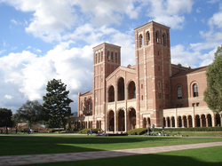 Royce Hall                                , one of the original four buildings, inspired by                                 Basilica of Sant'Ambrogio